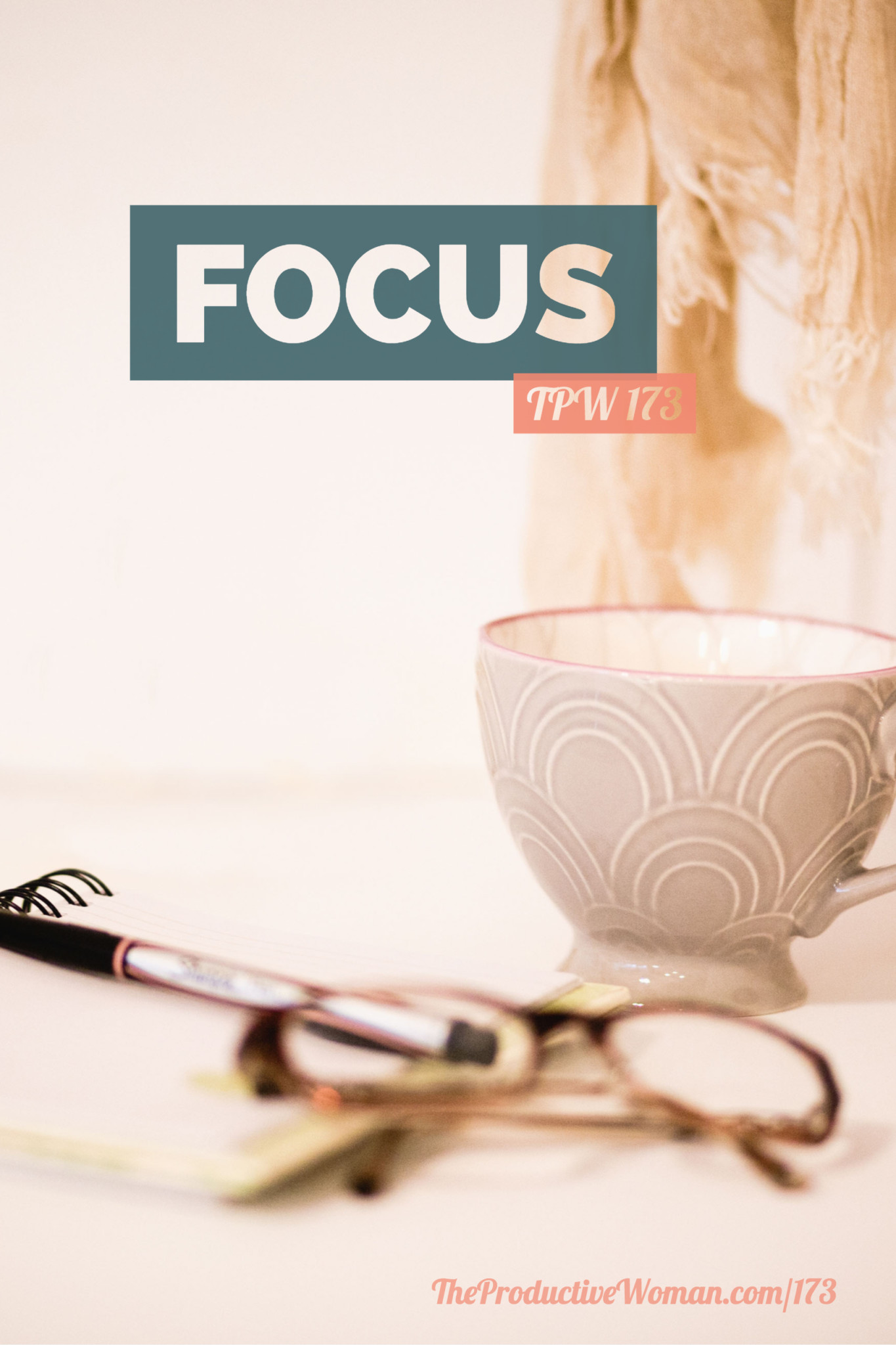 Episode 173 of The Productive Woman podcast takes a look at one of my words for 2018: focus. We consider why it matters, how it affects our productivity, what interferes with it, and how we can improve it. Find more at TheProductiveWoman.com/173.
