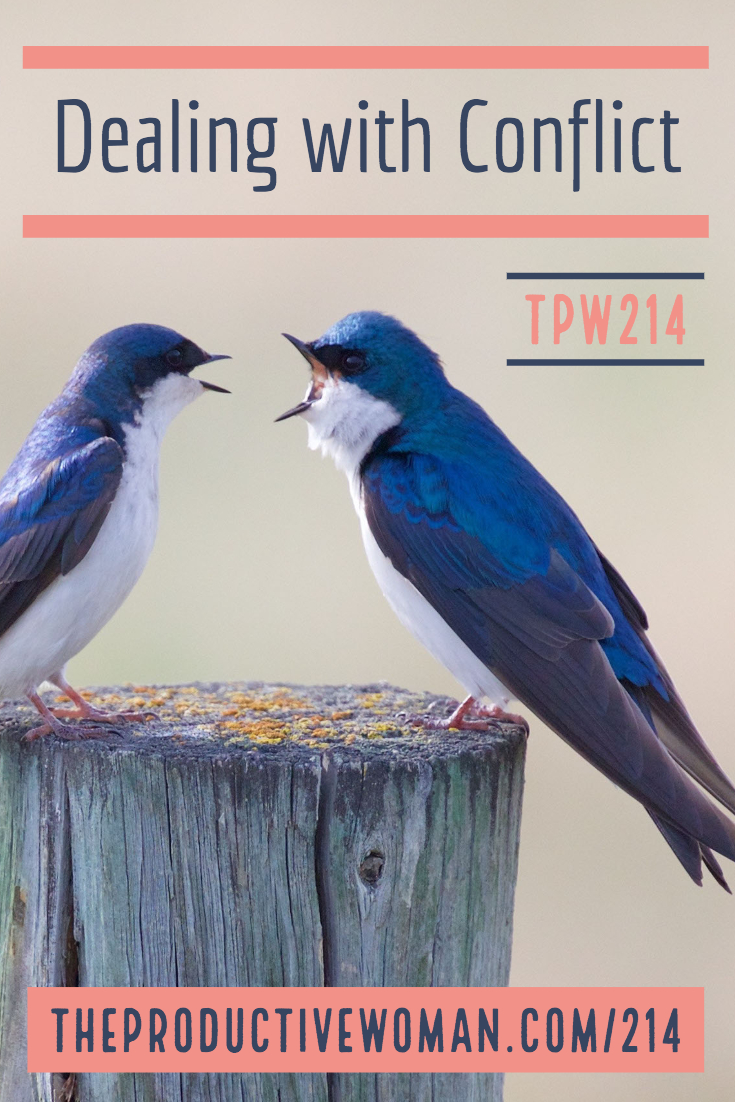 Most of us don't like conflict, but it's an inevitable part of the human condition. It doesn't have to derail ourproductivity, though--if we can find constructive ways to deal with it. Find more at TheProductiveWoman.com/214.